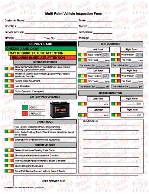 Vehicle Inspection Forms – Vehicle Inspection Checklist Template