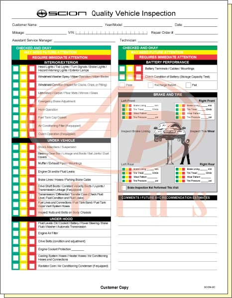 Vehicle Inspection Forms – Vehicle Inspection Form