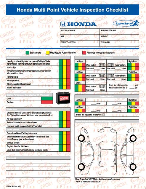 HONDA QV Honda Multi Point Vehicle Inspection Checklist. View Images