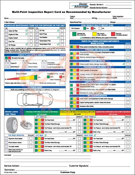 Ford multi point inspection report card download for Motor vehicle inspection report