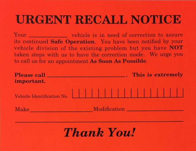 AP-RT-6 • Urgent Recall Notices • Quantity 500
