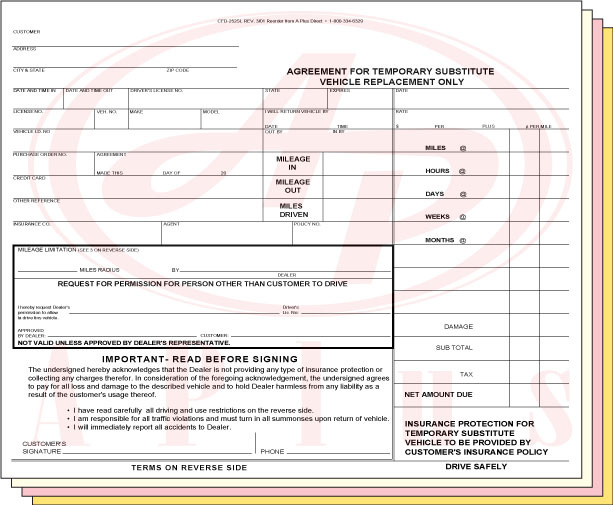 CFD-252SL • 4 Part NCR Rental Agreement • Quantity 100